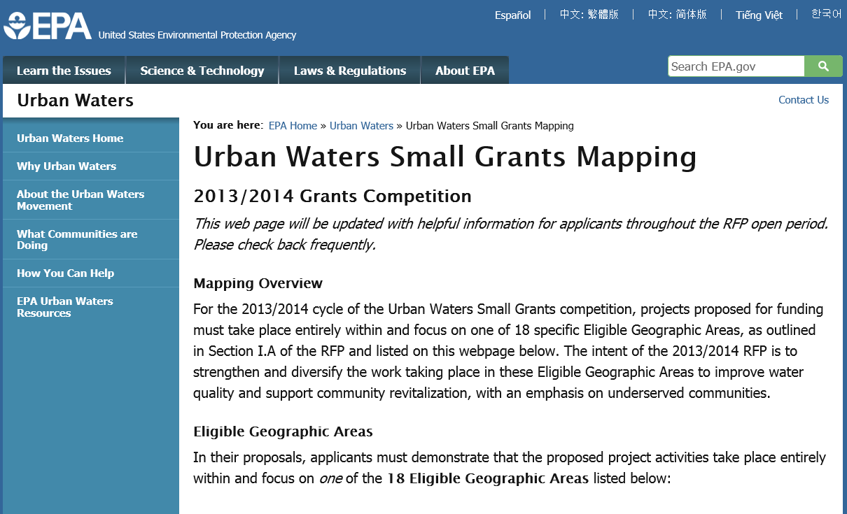 Urban Waters Small Grants Mapping 2013/14